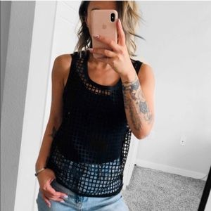 BLACK LASERCUT CREW NECK TANK TOP